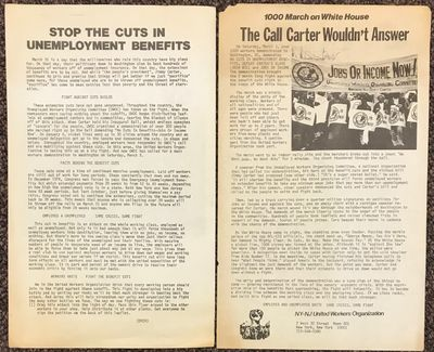 New York: NY-NJ United Workers Organization, 1977. 8.5x14 inch flyer, printed both sides, minor toni...