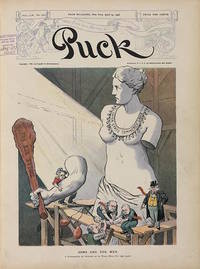 """Puck Magazine Cover """"Arms and the Men. A Difference Of Opinion to What Will Fit the..."""