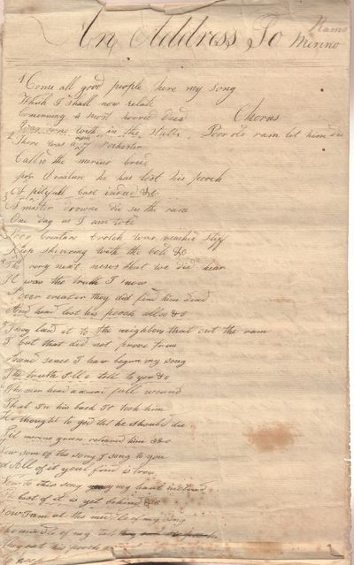 Ephemera. A graphic song of the castration of a Merino Ram in Rochester (NY? ) written in manuscript...