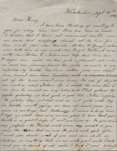Columbian College Hospital, Washington DC; Winchester, 1863. Letter. Very good. 2 letters. The first...