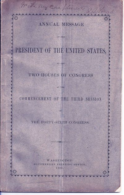 Washington: Government Printing Office, 1880. First Edition. Wraps. Inscription a little light, but ...