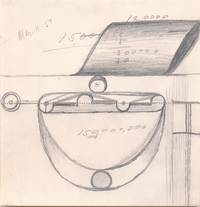 Sketch rendered in pencil on a 5 1/2 x 5 3/4 inch page perforated at center, March 11, 1957, unsigned