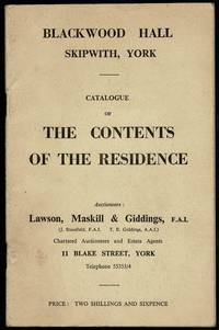 image of Blackwood Hall Skipworth, York: Catalogue of the Contents of the Residence