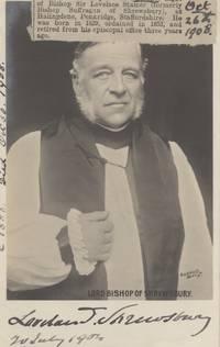 Signed postcard photo, (Sir Lovelace Tomlinson, 1829-1908, Bishop of Shrewsbury 1888-1905, 3rd Bart.)