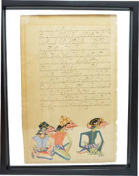 Tibetan Leaf Handwritten Signed Watercolor Three Wise Men Ancient Rare by Unknown - 1700
