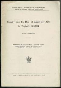 image of Enquiry into the Rate of Wages per Acre in England, 1913-1914