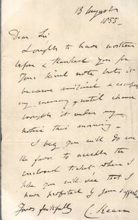 image of Fine Autograph Letter Signed to an unnamed correspondent, (Charles, 1811-1868, Shakespearean Actor)