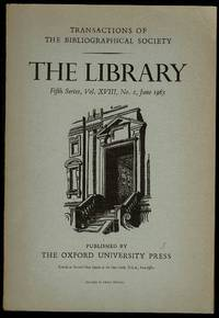 image of The Library 5th Series Vol XVIII No. 2 June 1963: Transactions of the Bibliographical Society