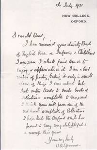 image of Autograph Letter Signed to Mr Wood (William A., 1844-1930, Theologian & Educationalist, Originator of the 'Spoonerism')