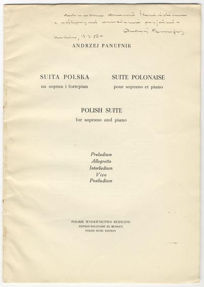: Polskie Wydawnictwo Muzyczne , 1950. Folio. Wrappers. 17 pp. Notes in Polish, French, and English....