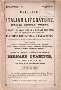 Catalogue no.235/1867: Italian Literature, Italian History, Poetry,  Italian Language and Dialects, Early Italian Biblie, Bibliography, Italian  Genealogy an Heraldry, Illuminated Heraldie Manuscripts