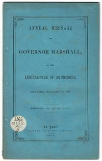 Annual message of Governor Marshall to the Legislature of Minnesota