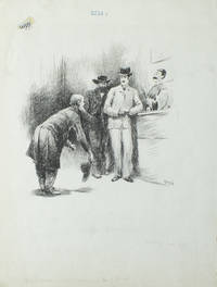 """Pen and Ink Drawing:  """"He backed out into the Center of the Room"""" in Century Jan 1889 from George H. Jessup's """"Old Man from the Old Country."""""""