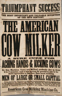 AMERICAN COW MILKER MACHINE POSTER, ORIGINAL, 19TH CENTURY EPHEMERA by AMERICANA - from Boston Book Company and Biblio.com
