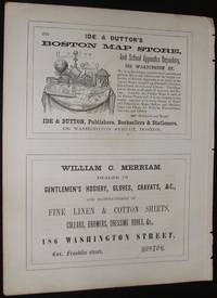 Rare Original 1853 Illustrated Advertisement for Boston Map Store ,  Clothing Store