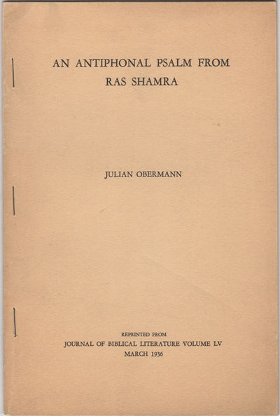 : , 1936. Offprint. Stapled paper wrappers. Near fine, wrappers lightly browned.. 44 pp. Illus. with...