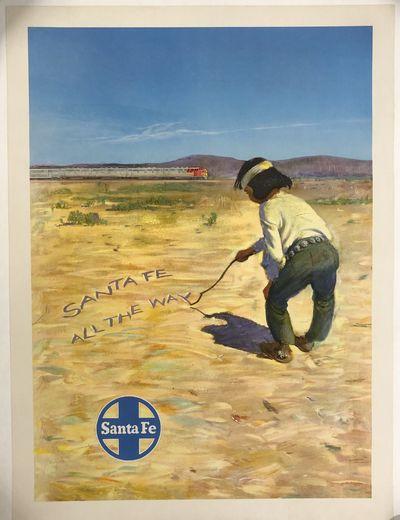Fine. Poster. Original Santa Fe Railroad Travel Poster backed on linen; poster measures 18