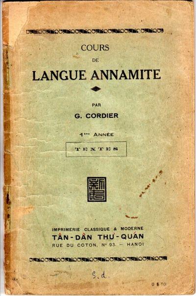Hanoi: Imprimerie Classique & Moderne, Tan-Dan Thu-Quan, 1930. First edition, 8vo, pp. 113; pages to...