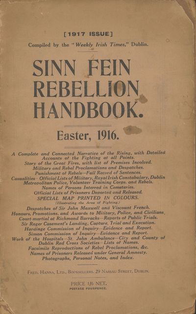 Dublin: The Irish Times, 1917. Octavo, xvi, 286 pages. Folding map in color. First edition. One of t...