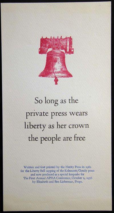 New York, NY: The Herity Press Elizabeth and Ben Lieberman, Props., 1976. Single-sided letterpress p...