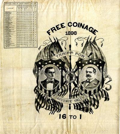 1896. Square folio broadside, printed on cloth. 19