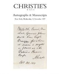 Sale 8055, 12 November 1997: Autographs and Manuscripts incl. American and  English Literary Manuscripts, Americana and General Historical.