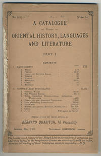 A catalogue of works on Oriental history, languages and literature. Part I.