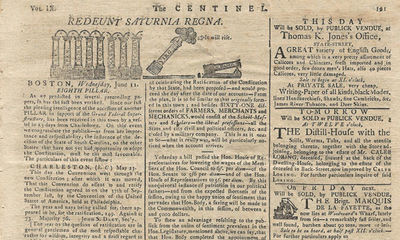 11/06/1788. On March 24, 1784, Benjamin Russell launched a newspaper, The Massachusetts Centinel. Th...