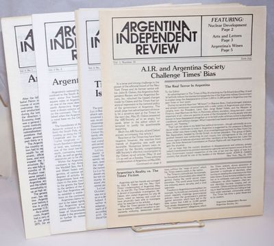 New York: Argentina Society, Inc, nd. Four issues of the pro-junta newsletter, undated but from 1979...