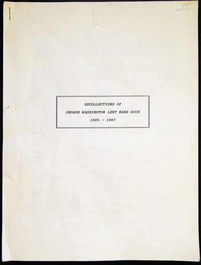 Houston Texas: Not Published , 1987. 25 pages; typed one side only. Appearing to be a final correcte...