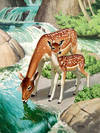Bambi and Mother at a Waterfall