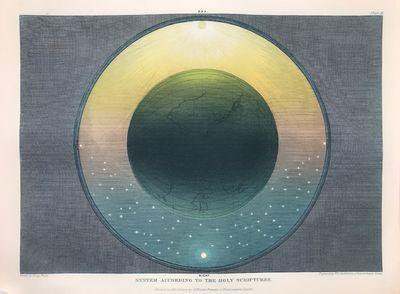 Original Muggletonian Celestial Astronomical Baxter print System According to the Holy Scriptures Dr...
