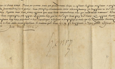 08/04/1553. A very rare and important letter of the French KingThe Eighth Italian War of 1551–1559...