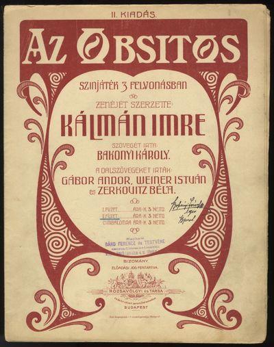 Budapest: Rózsavölgyi és Társa , 1910. Folio. 2 volumes. Original publisher's wrappers with deco...