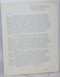 Pilot Project on Homosexuality [letter of intent]