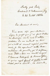 A CORRESPONDENCE consisting of 4 AUTOGRAPH LETTERS SIGNED by the Famous French Priest HYACINTHE LOYSON [PERE HYACINTHE] who was excommunicated by the Catholic Church for his opposition to the pronouncements of the First Vatican Council.