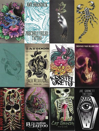 Amazing Collection of Over 1,800 Contemporary Tattoo Artist Business Cards. An impressive collectio...
