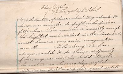 North Adams, Massachusetts : Drury High School Class of 1892, 1892. Letter. Very Good. Ten full page...
