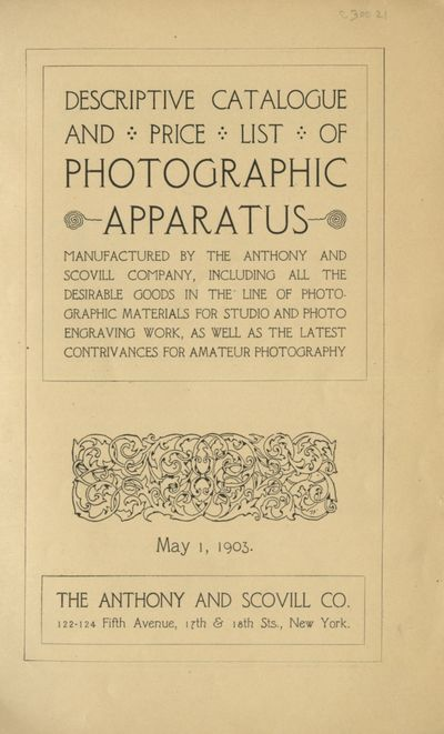 New York: Anthony and Scovill Co, 1903. 8vo., 222 pp., illustrated with engravings. Lacking the wrap...