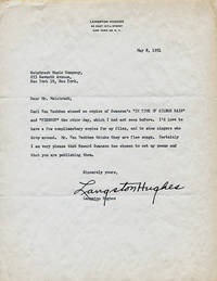 """TYPED LETTER SIGNED BY LANGSTON HUGHES TO EUGENE WEINTRAUB, WEINTRAUB MUSIC COMPANY: About publication of Swanson's musical compositions of Hughes' poems, """"Pierrot"""" and """"In Time of Silver Rain."""