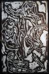 View Image 1 of 4 for Circa 1955 Abstract Group of Bearded Males Figural Composition, Ink on Paper Art Signed by Rose Grau... Inventory #26570