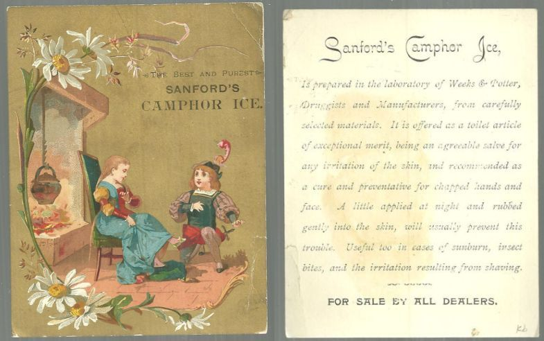 VICTORIAN TRADE CARD FOR SANFORD'S CAMPHOR ICE WITH COURTING COUPLE, Advertisement