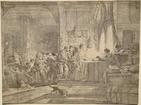 Parable of the Labourers in the Vineyard. Owner seated at table, with labourers and assistant...
