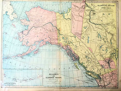 Chicago: J. Martin Miller, 1899. Unknown. Very Good. ; Colored map of Alaska with steamer routes fro...
