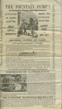 """image of """"The Fountain Pump! A Portable Pump and Sprinkler.  All Sailing Vessels and Steamboats need this Pump"""".  Broadside [with] accompanying handbill"""