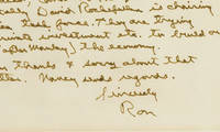 """In a Very Rare Handwritten Letter of Ronald Reagan as President, He Describes His Caribbean and Central American Policy in Praising Its Centerpiece - Jamaica """"We have a good 'private sector' task force working on Jamaica. On the general program we intend to involve at the top level Mexico, Canada, & Venezuela. Incidentally, David Rockefeller is chairing the Jamaica task force. They are trying to get priv"""
