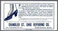 image of Vintage Advertising Ink Blotter for the Chandler Shoe Repair Co.  Worcester, Ma