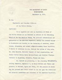 Typed letter signed by Robert Lansing (1864-1928).