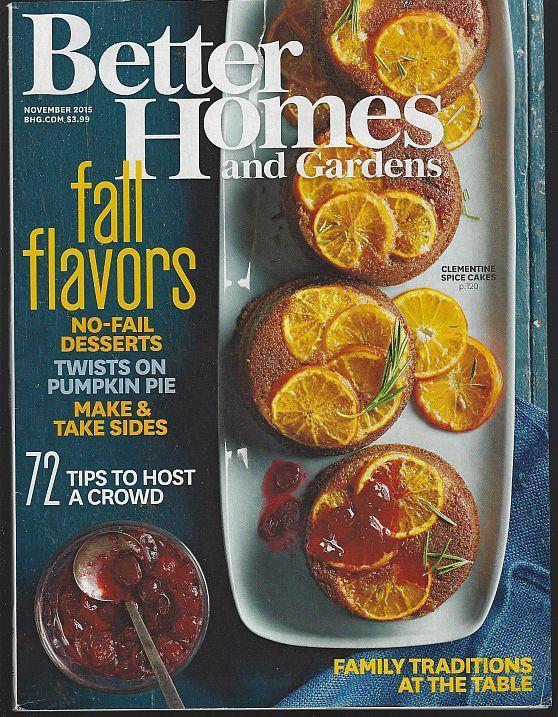 BETTER HOMES AND GARDENS MAGAZINE NOVEMBER 2015, Better Homes and Gardens