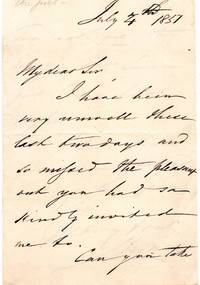 Holographic letter, signed,  from Charles Swain the poet (1801-1874), dated July 4, 1857 by  Charles Swain - from Little Sages Books, ABAA (SKU: 892)